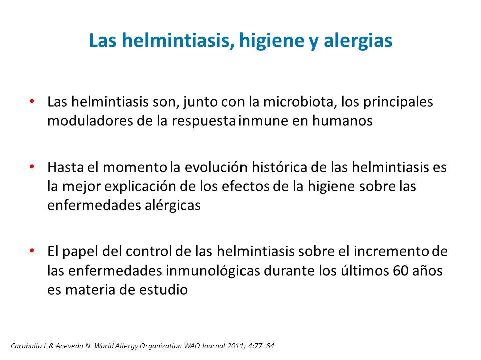 Las helmintiasis, higiene y alergias Las helmintiasis son, junto con la microbiota, los principales moduladores de la respuesta inmune en humanos Hast