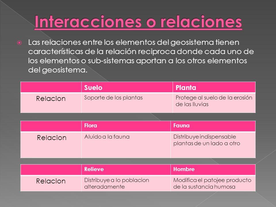 Las relaciones entre los elementos del geosistema tienen características de la relación reciproca donde cada uno de los elementos o sub-sistemas aport