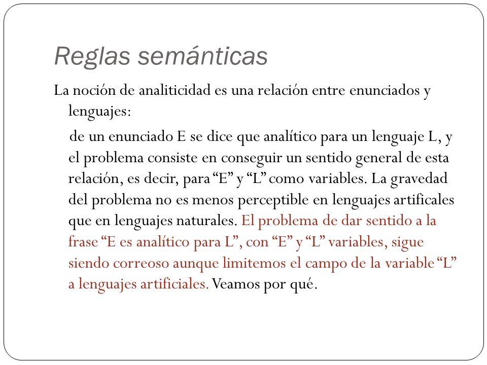 Reglas semánticas La noción de analiticidad es una relación entre enunciados y lenguajes: de un enunciado E se dice que analítico para un lenguaje L, y el problema consiste en conseguir un sentido general de esta relación, es decir, para E y L como variables.