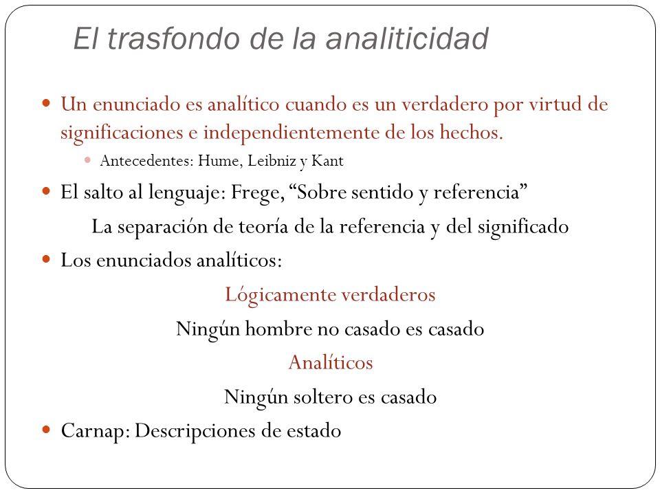 El trasfondo de la analiticidad Un enunciado es analítico cuando es un verdadero por virtud de significaciones e independientemente de los hechos. Ant