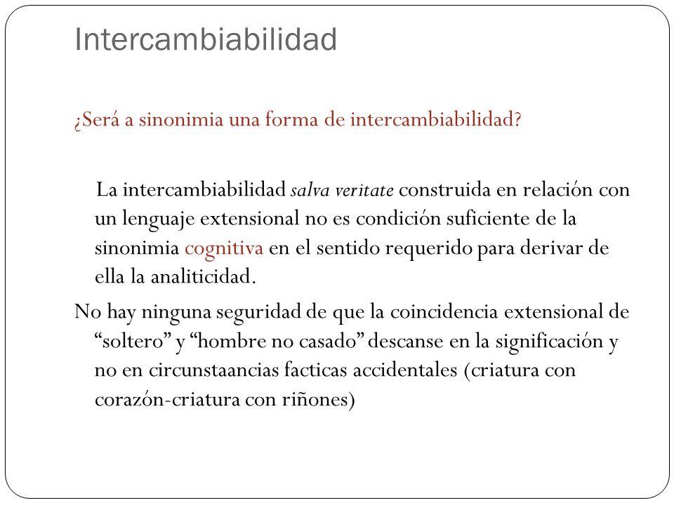 Intercambiabilidad ¿Será a sinonimia una forma de intercambiabilidad? La intercambiabilidad salva veritate construida en relación con un lenguaje exte