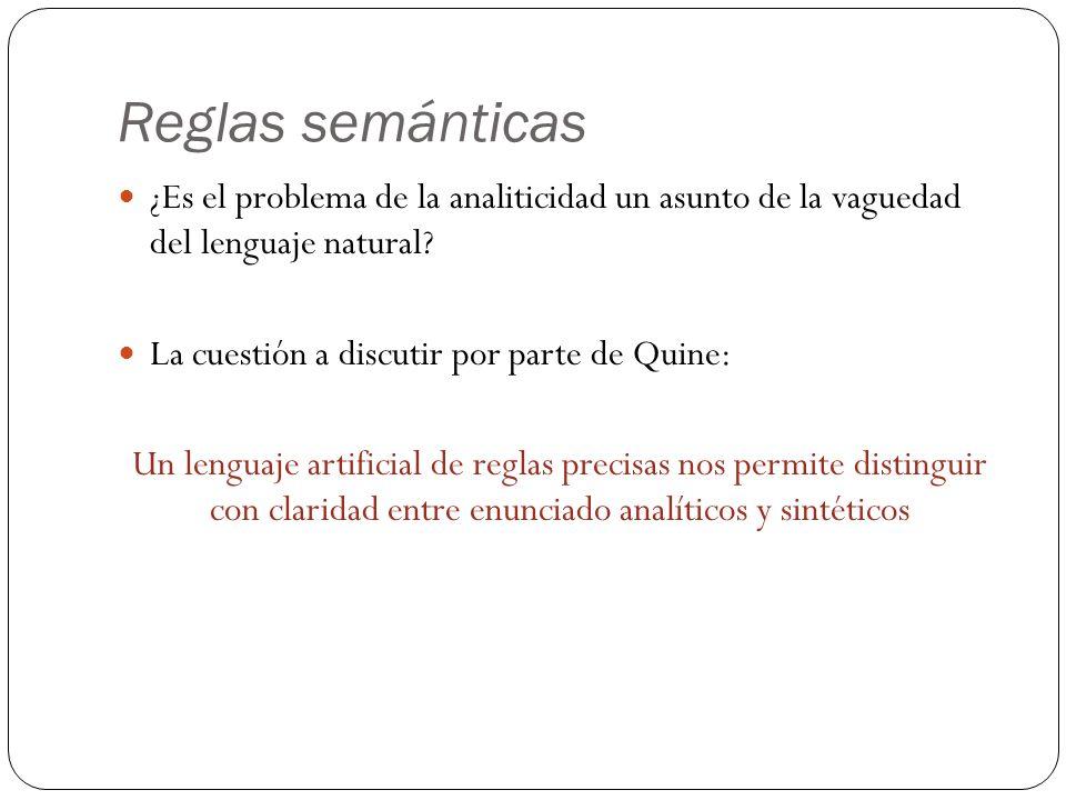 Reglas semánticas ¿Es el problema de la analiticidad un asunto de la vaguedad del lenguaje natural? La cuestión a discutir por parte de Quine: Un leng