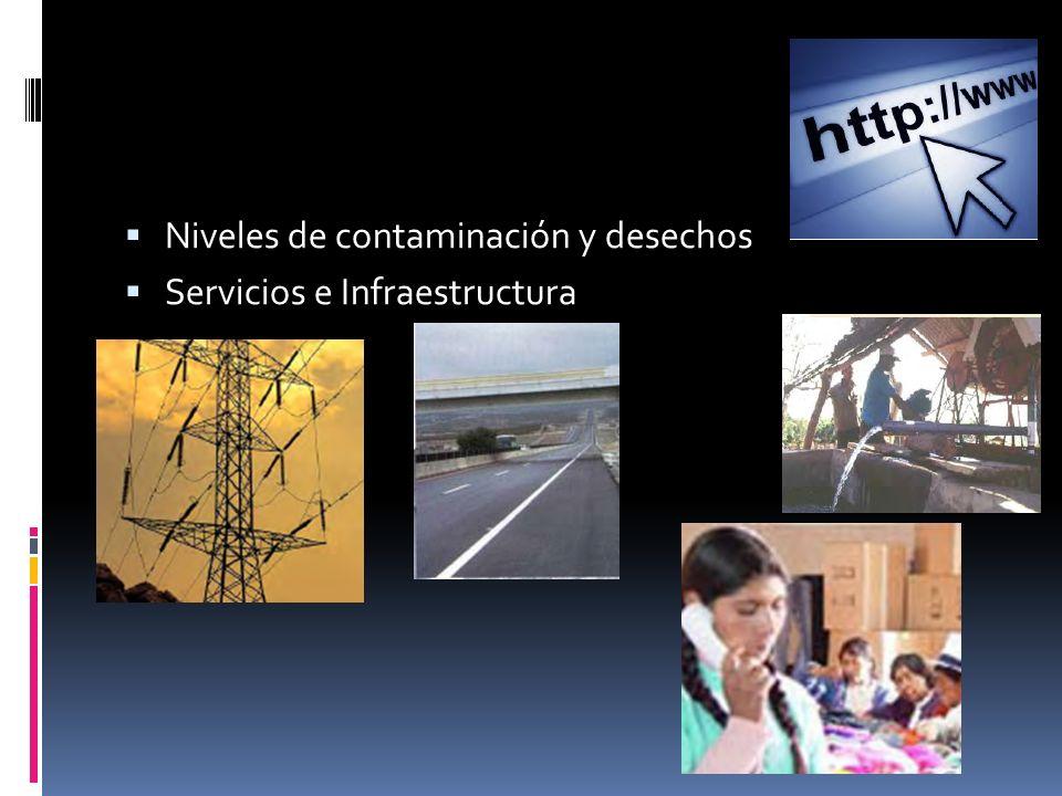 Niveles de contaminación y desechos Servicios e Infraestructura