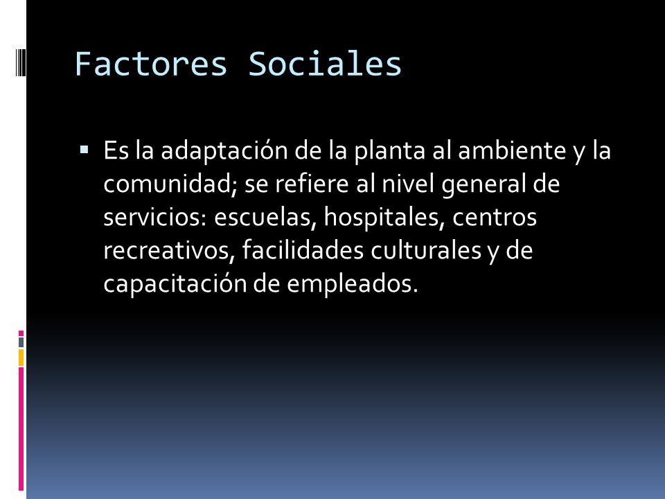 Factores Sociales Es la adaptación de la planta al ambiente y la comunidad; se refiere al nivel general de servicios: escuelas, hospitales, centros re