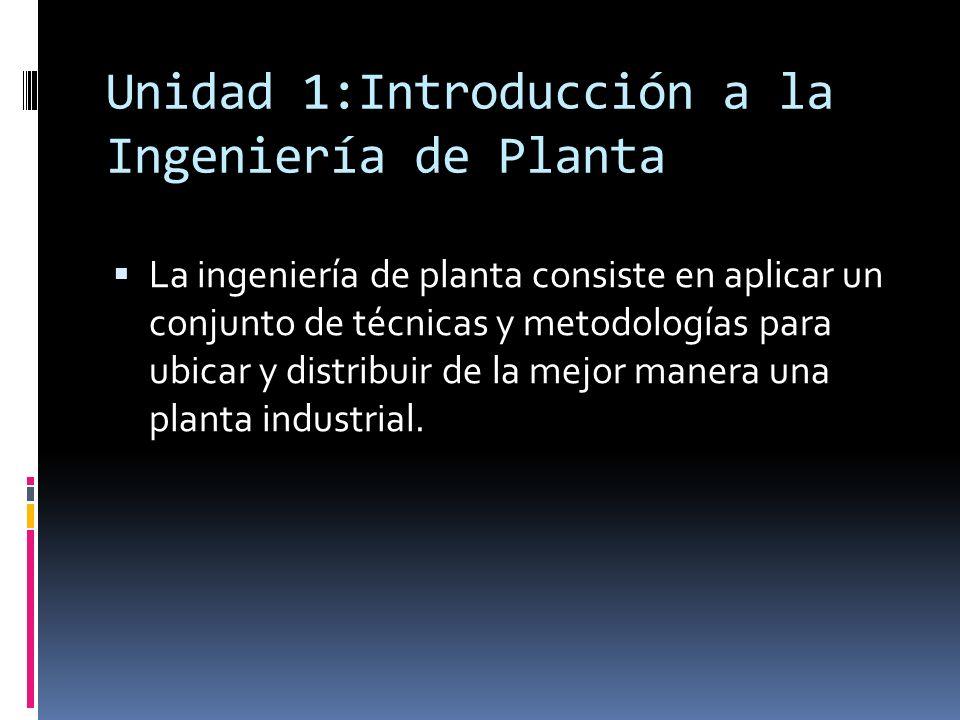 Unidad 1:Introducción a la Ingeniería de Planta La ingeniería de planta consiste en aplicar un conjunto de técnicas y metodologías para ubicar y distr