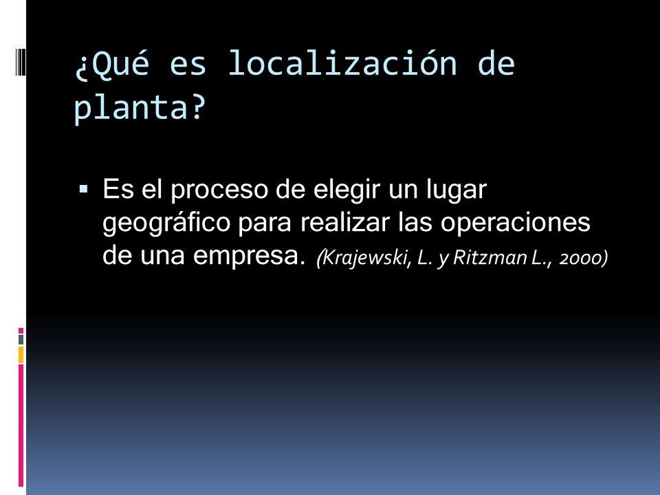 ¿Qué es localización de planta? Es el proceso de elegir un lugar geográfico para realizar las operaciones de una empresa. ( Krajewski, L. y Ritzman L.