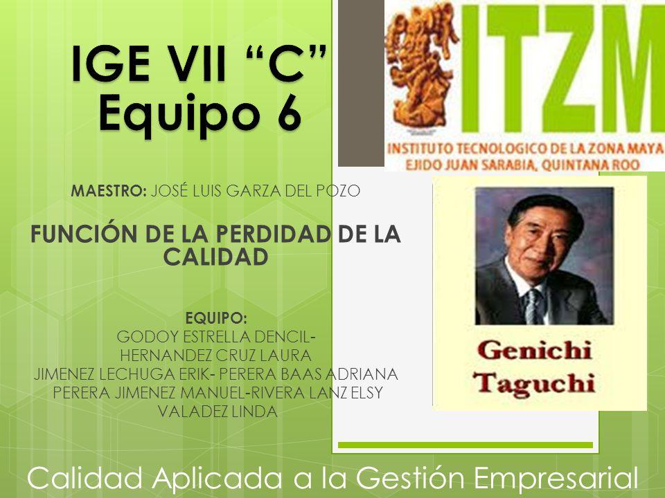 Calidad Aplicada a la Gestión Empresarial MAESTRO: JOSÉ LUIS GARZA DEL POZO FUNCIÓN DE LA PERDIDAD DE LA CALIDAD EQUIPO: GODOY ESTRELLA DENCIL- HERNAN