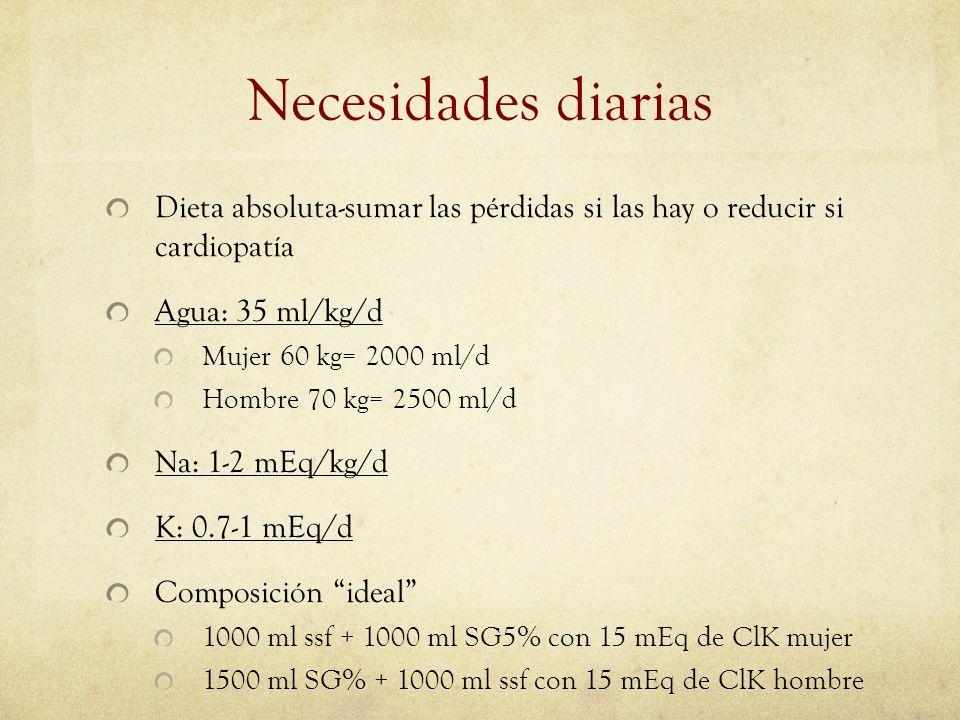 Necesidades diarias Dieta absoluta-sumar las pérdidas si las hay o reducir si cardiopatía Agua: 35 ml/kg/d Mujer 60 kg= 2000 ml/d Hombre 70 kg= 2500 m