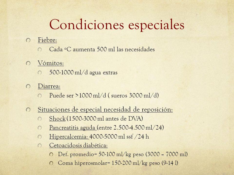 Condiciones especiales Fiebre: Cada ºC aumenta 500 ml las necesidades Vómitos: 500-1000 ml/d agua extras Diarrea: Puede ser >1000 ml/d ( sueros 3000 m