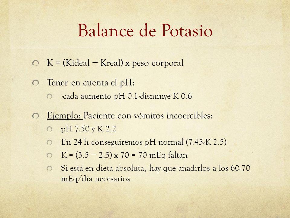 Balance de Potasio K = (Kideal Kreal) x peso corporal Tener en cuenta el pH: -cada aumento pH 0.1-disminye K 0.6 Ejemplo: Paciente con vómitos incoerc