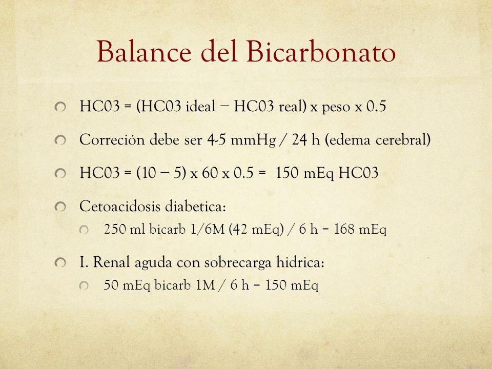 Balance del Bicarbonato HC03 = (HC03 ideal HC03 real) x peso x 0.5 Correción debe ser 4-5 mmHg / 24 h (edema cerebral) HC03 = (10 5) x 60 x 0.5 = 150
