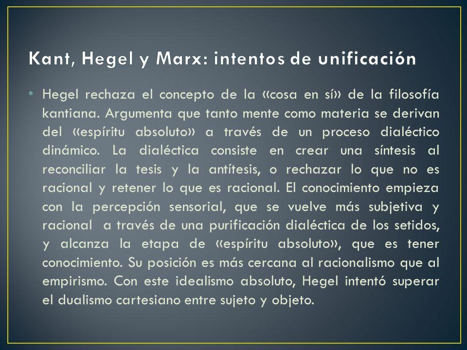 Hegel rechaza el concepto de la «cosa en sí» de la filosofía kantiana. Argumenta que tanto mente como materia se derivan del «espíritu absoluto» a tra