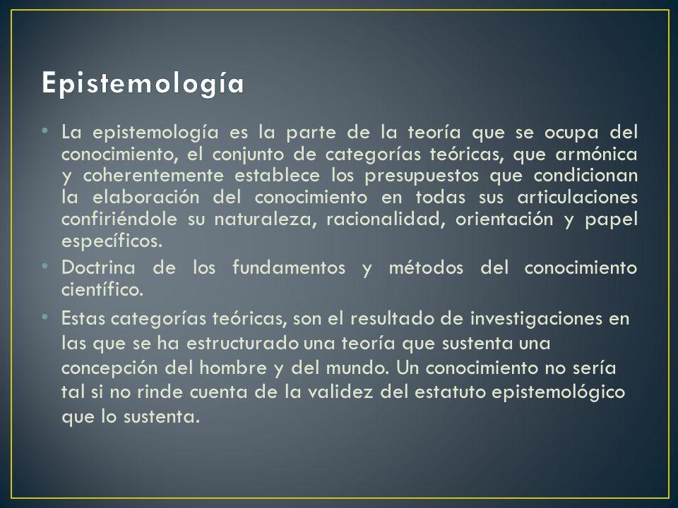 La epistemología es la parte de la teoría que se ocupa del conocimiento, el conjunto de categorías teóricas, que armónica y coherentemente establece l
