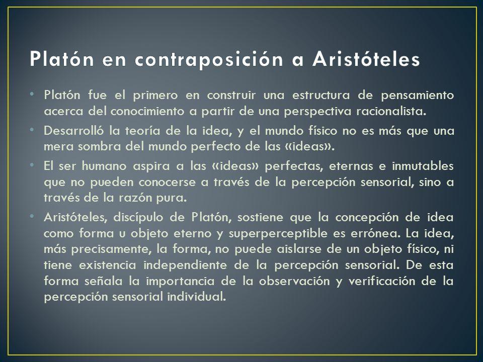 Platón fue el primero en construir una estructura de pensamiento acerca del conocimiento a partir de una perspectiva racionalista. Desarrolló la teorí