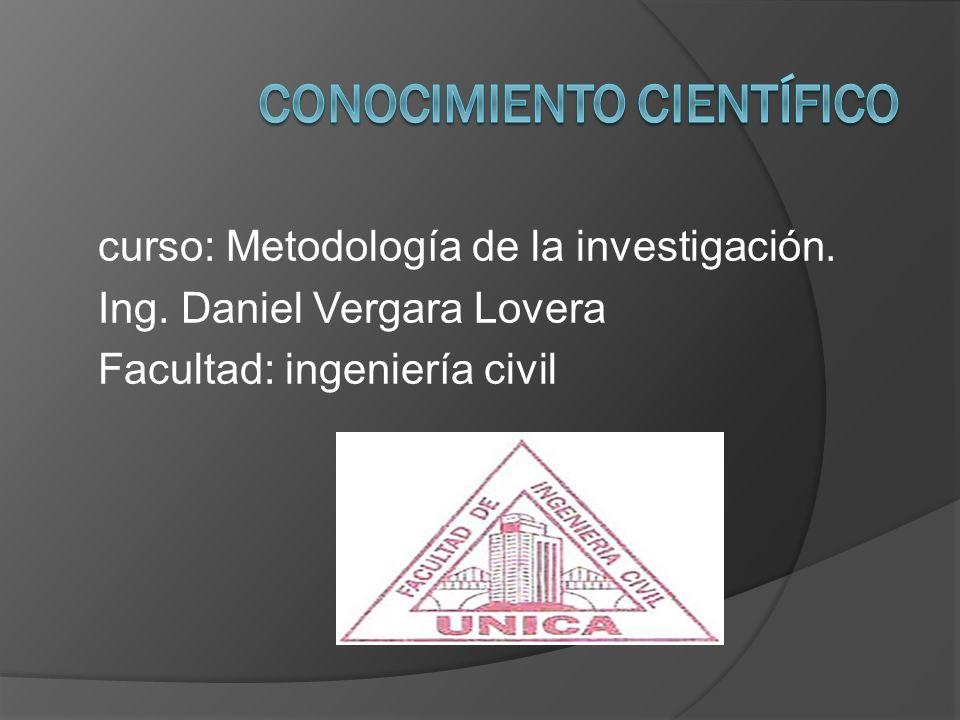 curso: Metodología de la investigación. Ing. Daniel Vergara Lovera Facultad: ingeniería civil