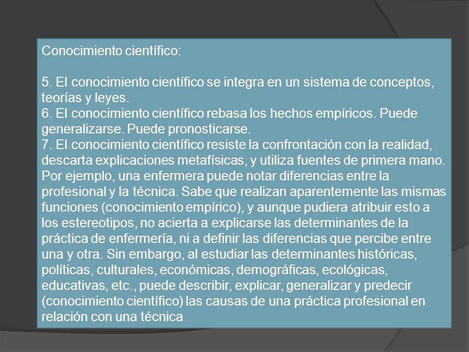 Conocimiento científico: 5. El conocimiento científico se integra en un sistema de conceptos, teorías y leyes. 6. El conocimiento científico rebasa lo