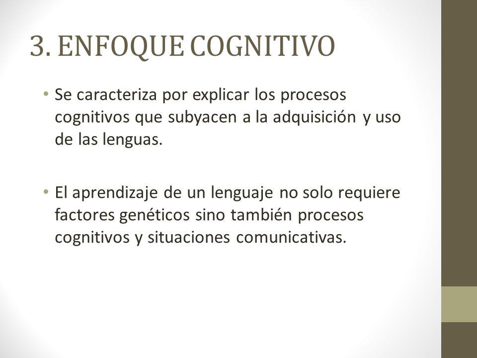 3. ENFOQUE COGNITIVO Se caracteriza por explicar los procesos cognitivos que subyacen a la adquisición y uso de las lenguas. El aprendizaje de un leng