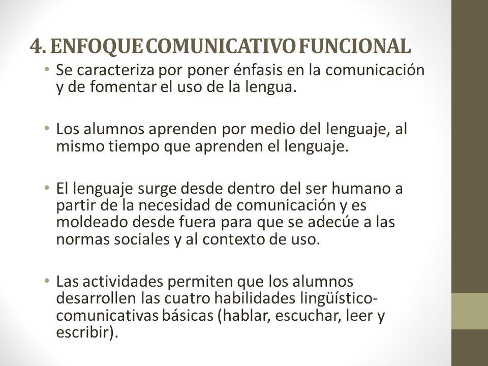 4. ENFOQUE COMUNICATIVO FUNCIONAL Se caracteriza por poner énfasis en la comunicación y de fomentar el uso de la lengua. Los alumnos aprenden por medi