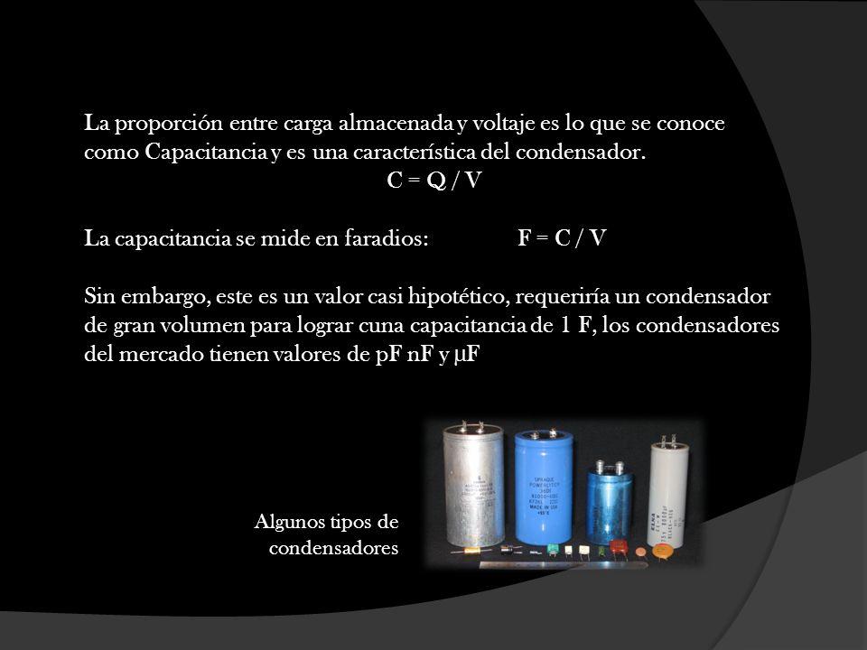 La proporción entre carga almacenada y voltaje es lo que se conoce como Capacitancia y es una característica del condensador. C = Q / V La capacitanci
