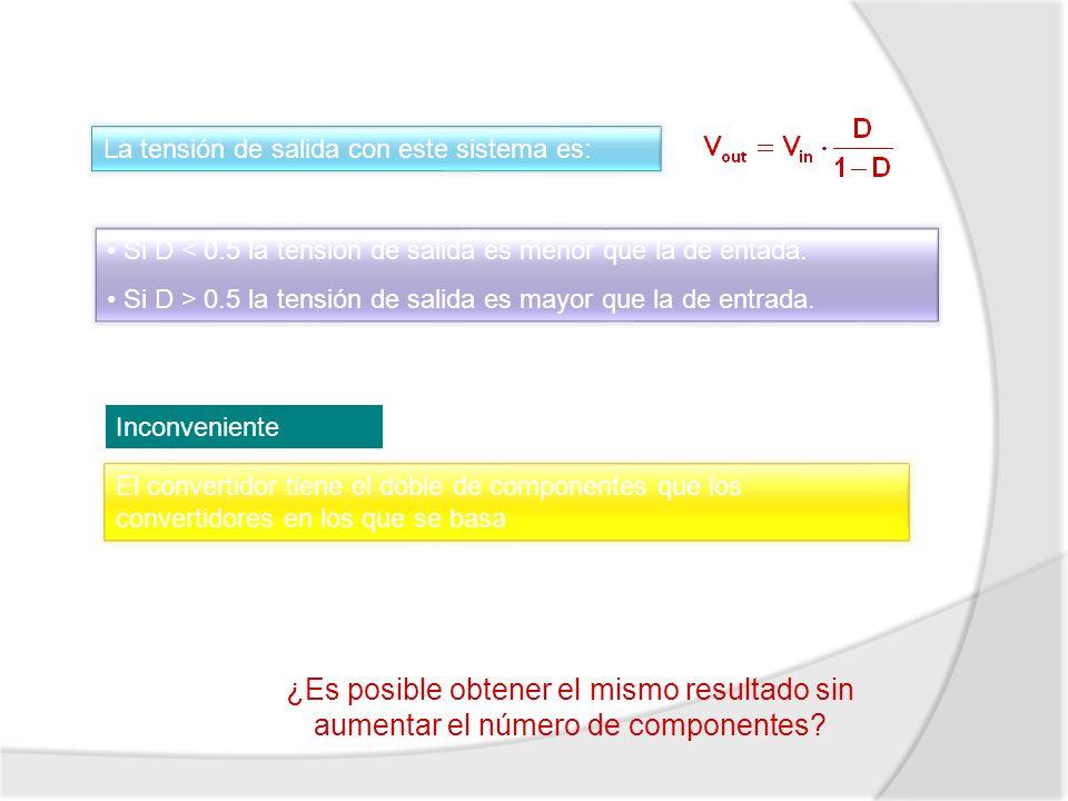 La tensión de salida con este sistema es: Si D < 0.5 la tensión de salida es menor que la de entada. Si D > 0.5 la tensión de salida es mayor que la d