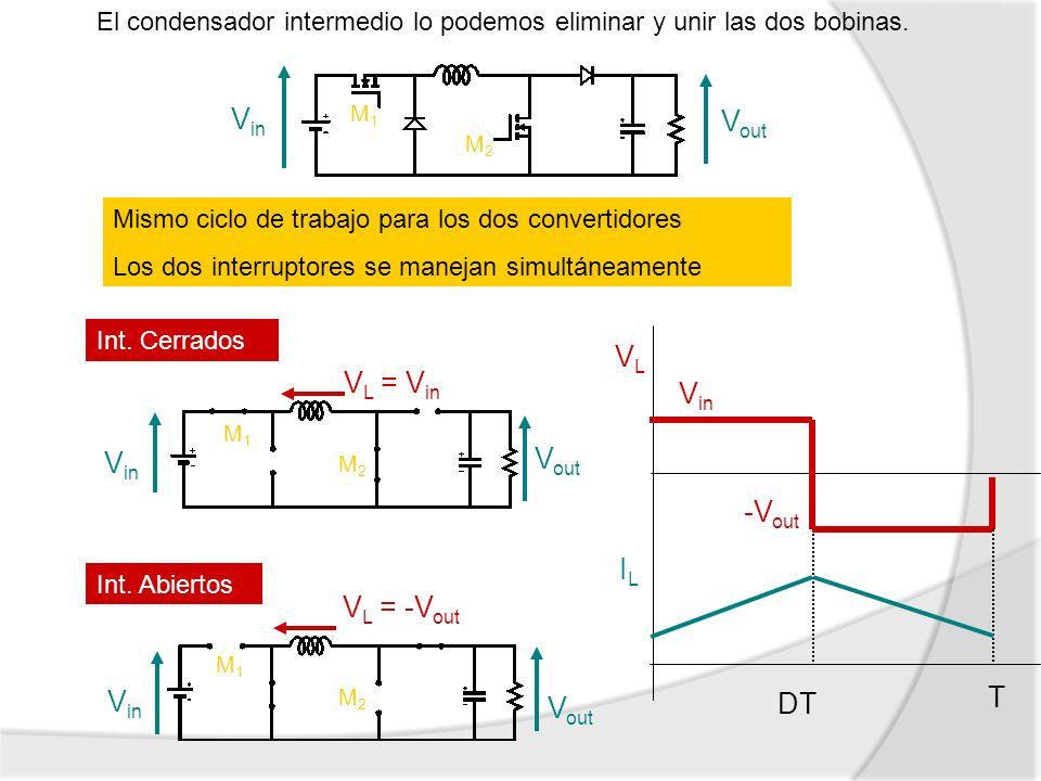 El condensador intermedio lo podemos eliminar y unir las dos bobinas. Mismo ciclo de trabajo para los dos convertidores Los dos interruptores se manej