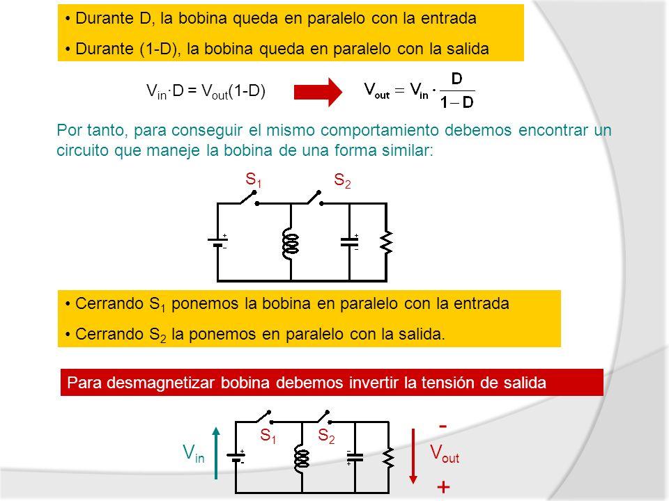 Durante D, la bobina queda en paralelo con la entrada Durante (1-D), la bobina queda en paralelo con la salida V in ·D = V out (1-D) Por tanto, para c