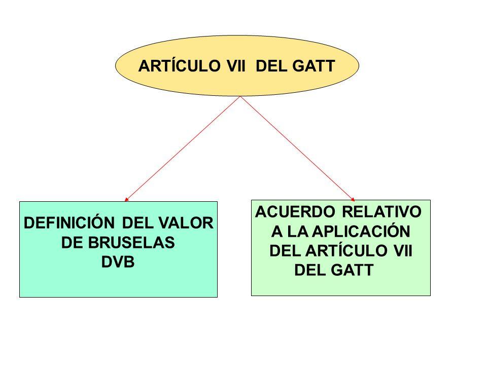ARTÍCULO VII DEL GATT DEFINICIÓN DEL VALOR DE BRUSELAS DVB ACUERDO RELATIVO A LA APLICACIÓN DEL ARTÍCULO VII DEL GATT