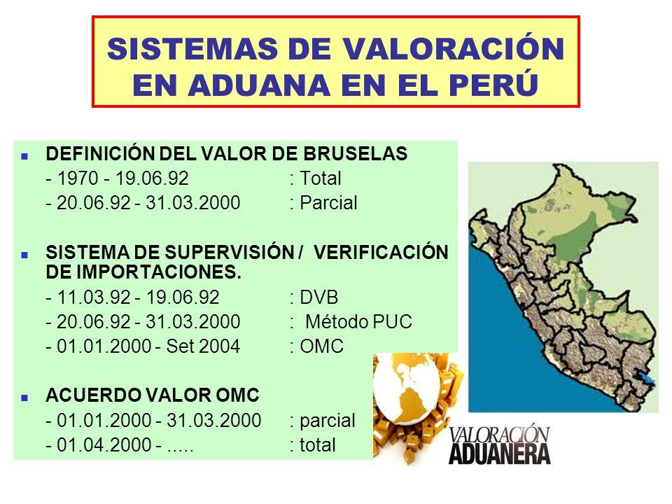 SISTEMAS DE VALORACIÓN EN ADUANA EN EL PERÚ DEFINICIÓN DEL VALOR DE BRUSELAS - 1970 - 19.06.92 : Total - 20.06.92 - 31.03.2000 : Parcial SISTEMA DE SU