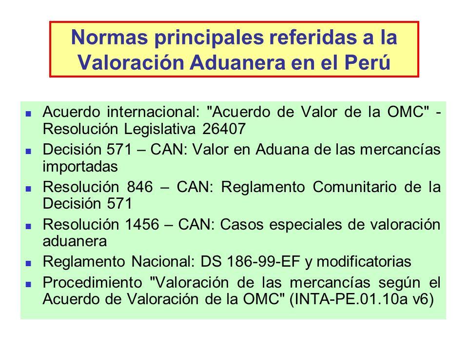 Normas principales referidas a la Valoración Aduanera en el Perú Acuerdo internacional: