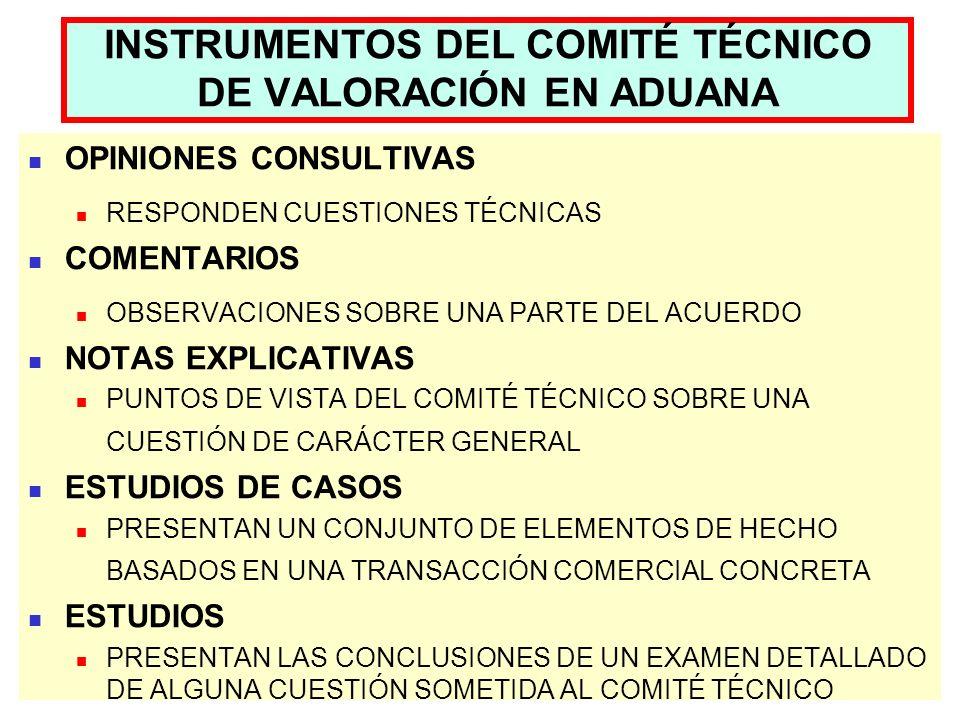 INSTRUMENTOS DEL COMITÉ TÉCNICO DE VALORACIÓN EN ADUANA OPINIONES CONSULTIVAS RESPONDEN CUESTIONES TÉCNICAS COMENTARIOS OBSERVACIONES SOBRE UNA PARTE