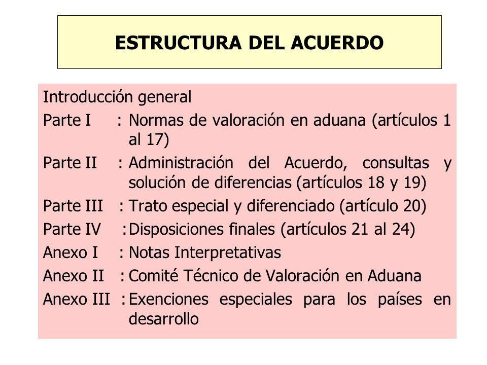 Introducción general Parte I : Normas de valoración en aduana (artículos 1 al 17) Parte II :Administración del Acuerdo, consultas y solución de difere