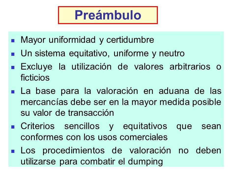 Preámbulo Mayor uniformidad y certidumbre Un sistema equitativo, uniforme y neutro Excluye la utilización de valores arbitrarios o ficticios La base p