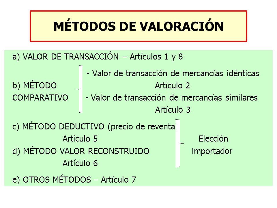 a) VALOR DE TRANSACCIÓN – Artículos 1 y 8 - Valor de transacción de mercancías idénticas b) MÉTODO Artículo 2 COMPARATIVO - Valor de transacción de me