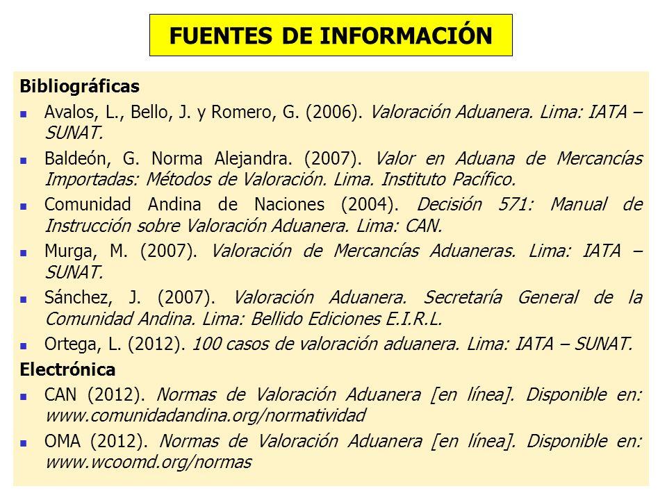 Bibliográficas Avalos, L., Bello, J. y Romero, G. (2006). Valoración Aduanera. Lima: IATA – SUNAT. Baldeón, G. Norma Alejandra. (2007). Valor en Aduan