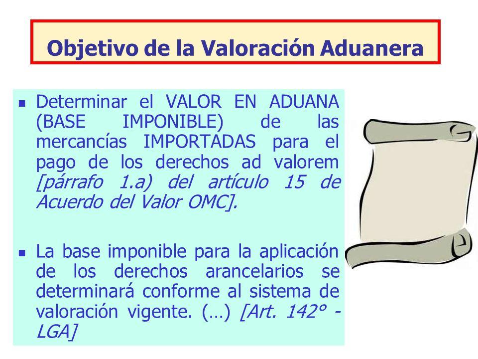 Objetivo de la Valoración Aduanera Determinar el VALOR EN ADUANA (BASE IMPONIBLE) de las mercancías IMPORTADAS para el pago de los derechos ad valorem