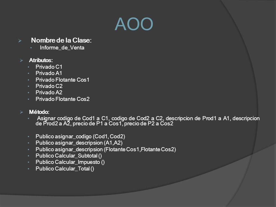 AOO Nombre de la Clase: Informe_de_Venta Atributos: Privado C1 Privado A1 Privado Flotante Cos1 Privado C2 Privado A2 Privado Flotante Cos2 Método: As