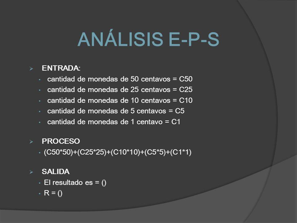 ANÁLISIS E-P-S ENTRADA: cantidad de monedas de 50 centavos = C50 cantidad de monedas de 25 centavos = C25 cantidad de monedas de 10 centavos = C10 can