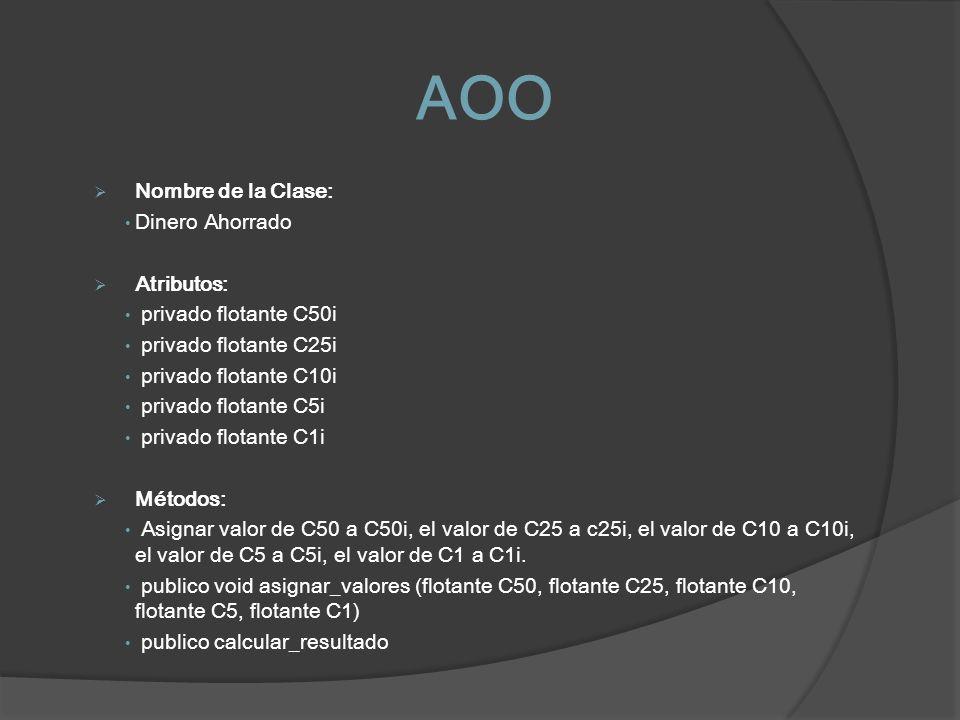 AOO Nombre de la Clase: Dinero Ahorrado Atributos: privado flotante C50i privado flotante C25i privado flotante C10i privado flotante C5i privado flot