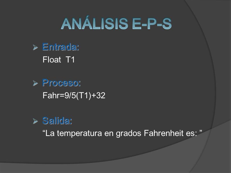 Entrada: Entrada: Float T1 Proceso: Proceso: Fahr=9/5(T1)+32 Salida: Salida: La temperatura en grados Fahrenheit es: