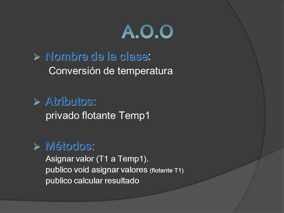 Nombre de la clase Nombre de la clase: Conversión de temperatura Atributos: Atributos: privado flotante Temp1 Métodos: Métodos: Asignar valor (T1 a Te