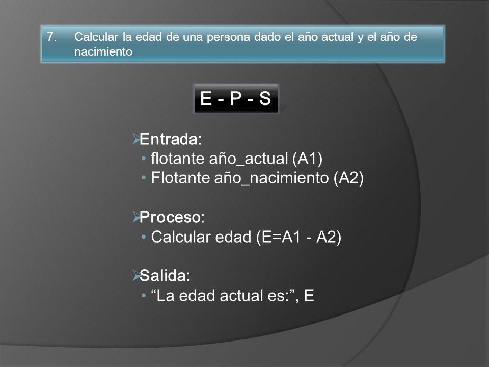 7.Calcular la edad de una persona dado el año actual y el año de nacimiento E - P - S Entrada: flotante año_actual (A1) Flotante año_nacimiento (A2) P