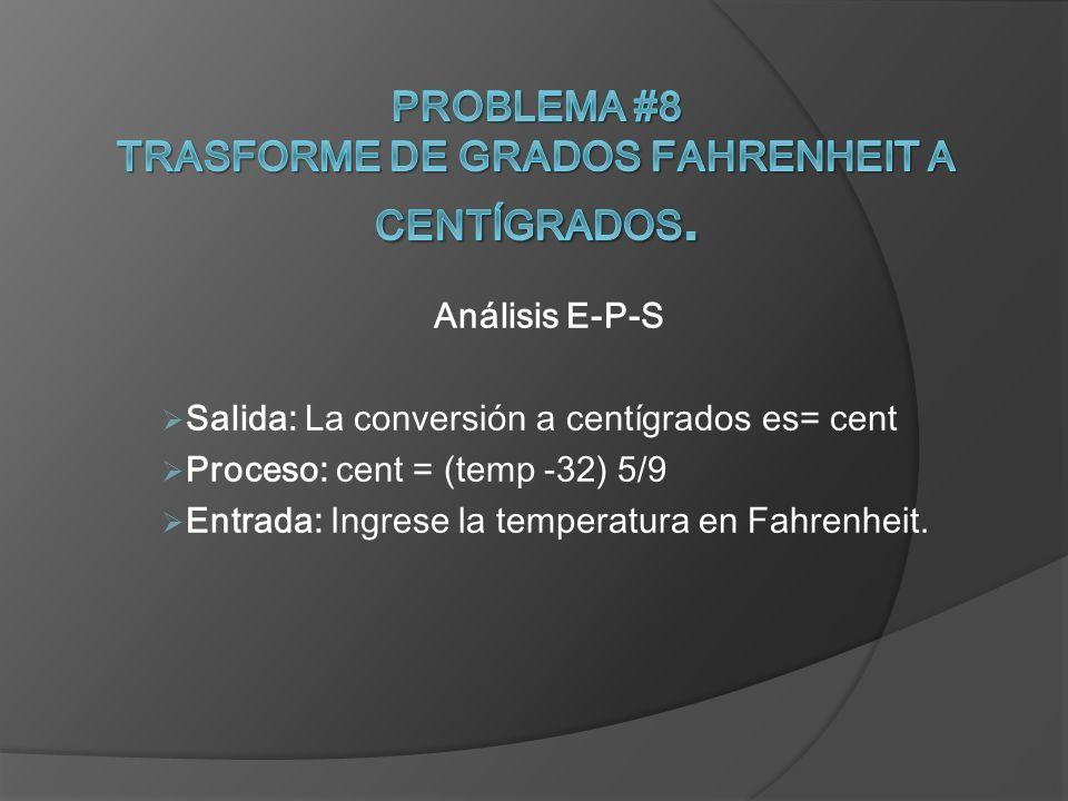 Análisis E-P-S Salida: La conversión a centígrados es= cent Proceso: cent = (temp -32) 5/9 Entrada: Ingrese la temperatura en Fahrenheit.