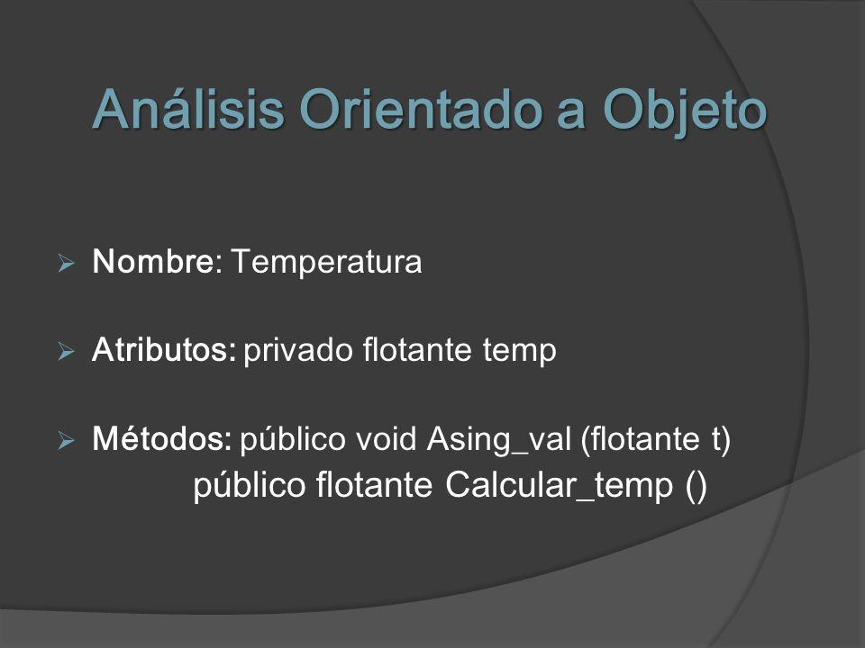 Análisis Orientado a Objeto Nombre: Temperatura Atributos: privado flotante temp Métodos: público void Asing_val (flotante t) público flotante Calcula