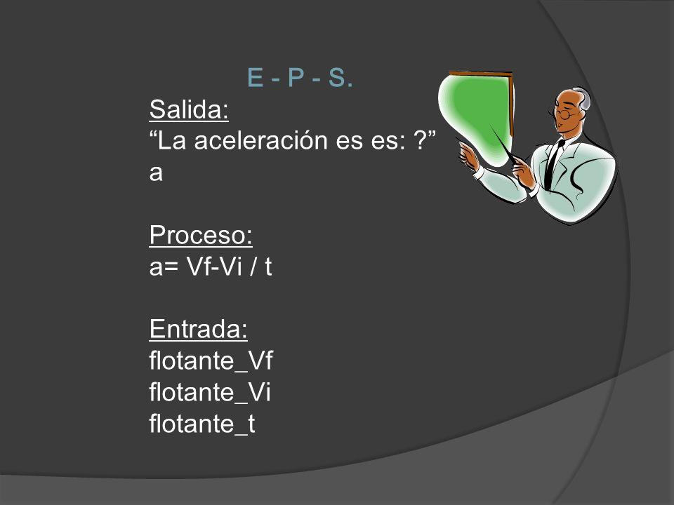 E - P - S. Salida: La aceleración es es: ? a Proceso: a= Vf-Vi / t Entrada: flotante_Vf flotante_Vi flotante_t