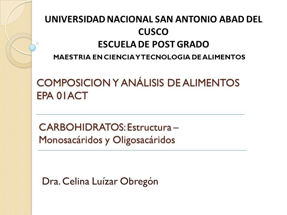 CARBOHIDRATOS: Estructura – Monosacáridos y Oligosacáridos Dra.