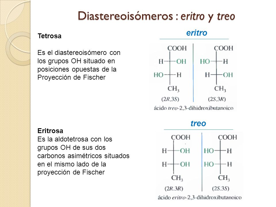 Diastereoisómeros : eritro y treo Eritrosa Es la aldotetrosa con los grupos OH de sus dos carbonos asimétricos situados en el mismo lado de la proyección de Fischer Tetrosa Es el diastereoisómero con los grupos OH situado en posiciones opuestas de la Proyección de Fischer eritro treo