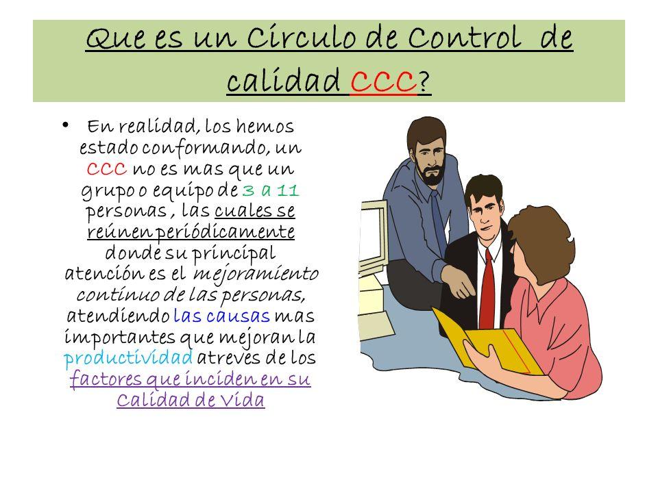 Que es un Circulo de Control de calidad CCC? En realidad, los hemos estado conformando, un CCC no es mas que un grupo o equipo de 3 a 11 personas, las