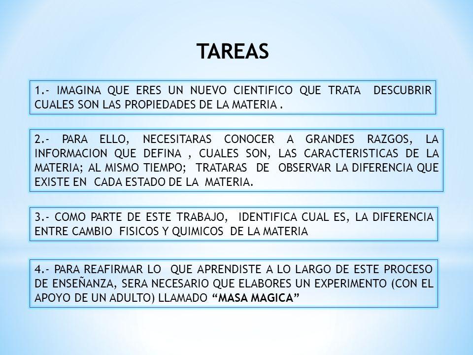 TAREAS 1.- IMAGINA QUE ERES UN NUEVO CIENTIFICO QUE TRATA DESCUBRIR CUALES SON LAS PROPIEDADES DE LA MATERIA. 2.- PARA ELLO, NECESITARAS CONOCER A GRA