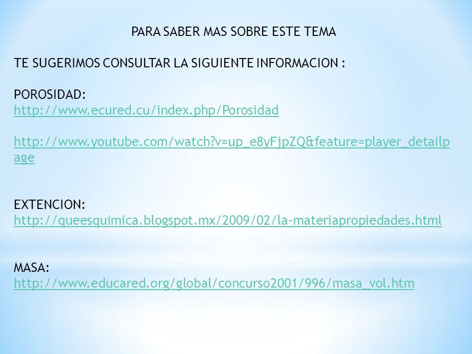 INERCIA: http://www.youtube.com/watch?v=blbd8xhAw8s&feature=player_detailpa ge VOLUMEN: http://www.youtube.com/watch?v=pk4mPnCBjLw&feature=player_embed ded DENSIDAD: http://www.youtube.com/watch?v=c4EP- 7cbpQY&feature=player_embedded http://www.youtube.com/watch?v=CEaKLMP8S-8&feature=related ELASTICIDAD: http://www.youtube.com/watch?v=c4EP7cbpQY&feature=player_embedd ed http://www.youtube.com/watch?v=2fwY53PoLhU