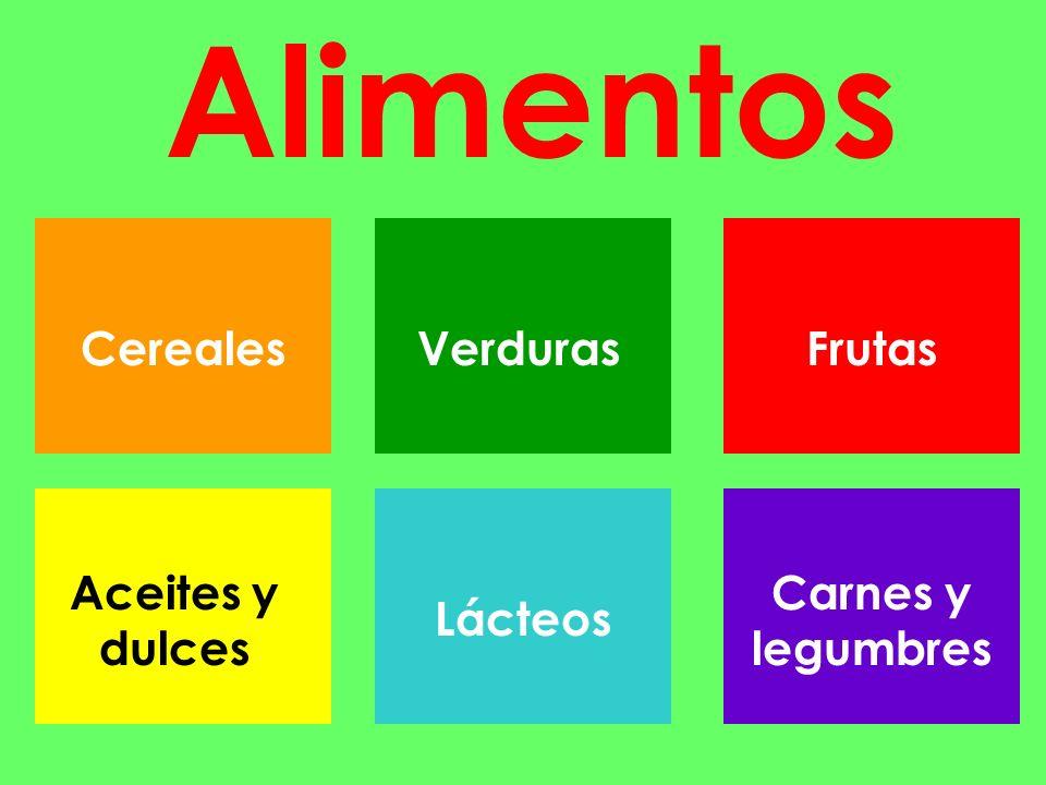 Alimentos CerealesVerdurasLácteosFrutas Aceites y dulces Carnes y legumbres